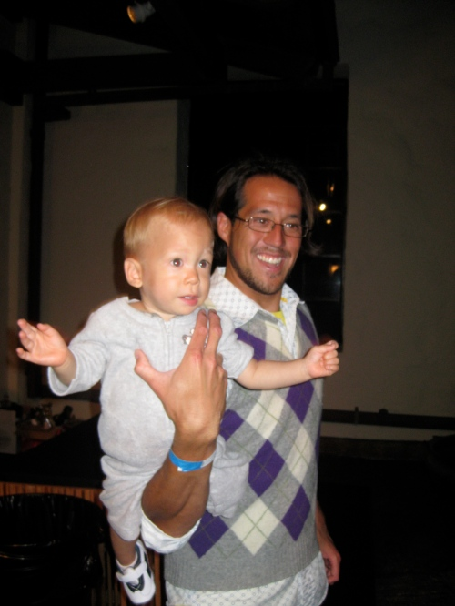 Aukai dancing with Uncle Christopher
