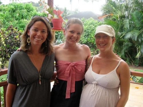 Dani, Lindsey and Yasha on the lanai in their new signature pieces